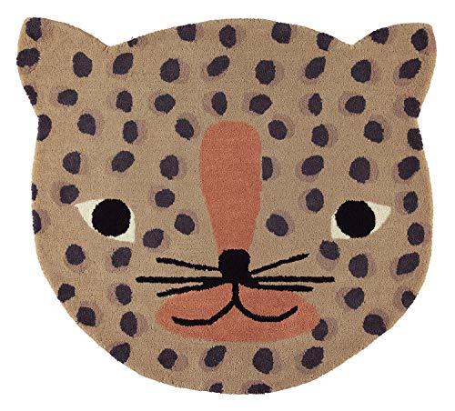 OYOY Mini Leopard Rug - Runder Kinderzimmer Teppich Leoparden Kopf - Kinder Spielteppich für Jungen und Mädchen - 84 x 94 cm aus einem Wolle Baumwolle Mix