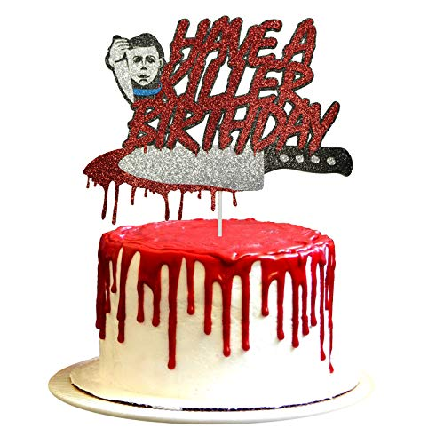 Have A Killer Birthday Cake Topper Halloween Michael Myers Birthday Cake Topper, Horror Movie Party Decorations, Friday the 13th Birthday Party Supplies, Halloween Zombie Vampire Party Decorations