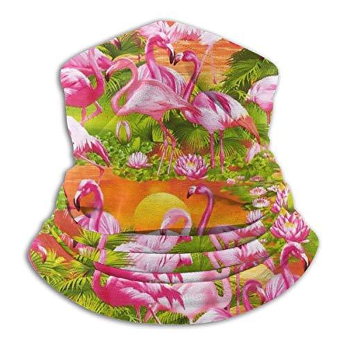 Tour de Cou Cagoule Microfibre Chapeaux Tube Masque Visage, Fleece NeckFace Mask Flamingos Sunset Outdoor Knit Headwear Wool Snow Ski Caps,for Woman