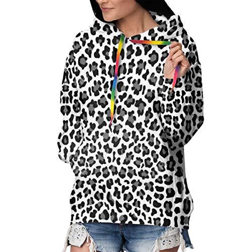 Dames Hoodie Womens Lange Mouwen Hooded Jas met Zakken Warm Zacht Comfortabel en Stretchy - Zwarte Witte Panter Luipaard