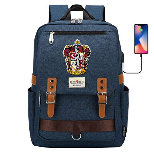 NYLY Hogwarts Gryffindor College Mochila, Mochila Escolar para portátil de Harry Potter, con Puerto de Carga USB, Mochila de Viaje de Ocio 42 * 30 * 16CM Navyblue