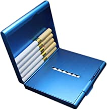 LBLMS Cigarette Case 20 Sticks, Portable Metal Thin Double Open Cigarette Case, Stainless Steel, Size 9.2 * 8.2 * 2.0 Cm (Color : Blue, Size : 9.2 * 8.2 * 2.0cm)