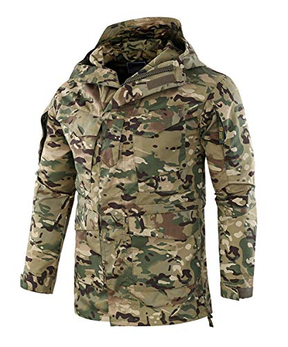 chouyatou Men's Utility Full Zip Hooded Outdoor Camo Print Jacket Rain Coat (Large, Green Camo)