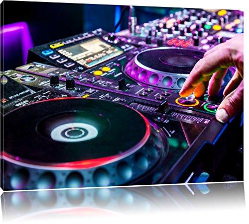 Pixxprint Modern beleuchteter DJ Pult als Leinwandbild | Größe: 80x60 cm | Wandbild| Kunstdruck | fertig bespannt