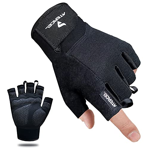 Atercel Workout Gloves for Men and Women, Exercise Gloves for Weight Lifting, Cycling, Gym, Training, Breathable and Snug fit (Black, M)