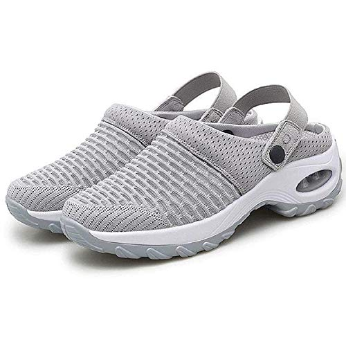 Orthopedic Walking Sandals, Women's Breathable Casual air Cushion Slip-on Shoes, Mesh Slip On Air Cushion Garden Shoes Summer Platform Mesh Mules Sneaker Sandals (Gray, 6.5)