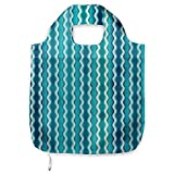 Ambesonne Abstract Fabric Shopping Tote, Wavy Stripe Pattern with Grunge Design Swirls Pattern Antique Composition, Portable and Foldable Bag to Keep in Pocket Bag Purse & Car, Aqua Blue Turquoise
