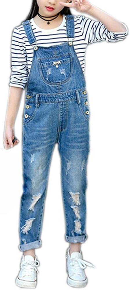 Abalacoco Big Girls Kids Jeans Adjustable Strap Ripped Holes Denim Overalls Jumpsuits Pants 6-13T