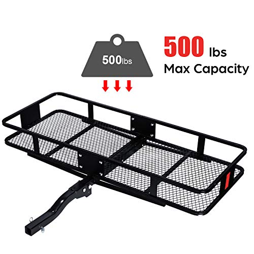 "Tiptiper Hitch Mount Cargo Carrier, 60"" x 24"" x 7"" Basket Trailer Hitch Carrier with 500lbs Capacity, Fits 2-Inch Receiver"