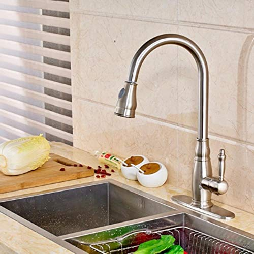 G FQXML Pull out Nickel Spazzolato Finitura Kitchen Sink Faucet Single Handle Miscelatore New, Clear