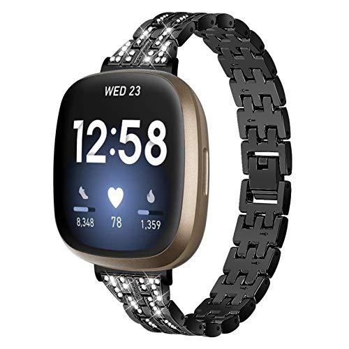 MVRYCE Versa 3 Armband Slim Edelstahl Metall Armbänder mit Bling Strass Dressy Schmuck Ersatz Uhrenarmband Fitness Zubehör Armband Kompatibel für Versa 3 / Sense für...