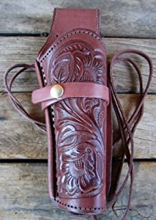New! Left Handed Burgundy Tooled Leather Single Western SASS Cowboy Holster for 22 Cal, 38 357 Cal & 44 45 Cal Gun Pistol by GUNS4US