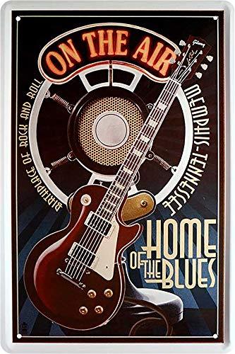 Cartel de chapa con texto en alemán 'On The Air of Home of the Blues Guitarre', cartel de metal para puerta, cartel divertido para cumpleaños o Navidad, 20 x 30 cm