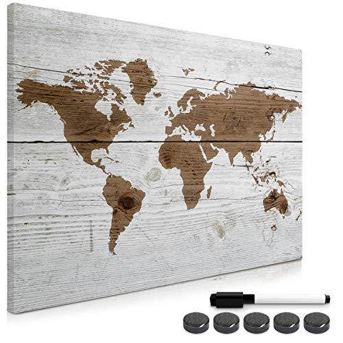 Navaris Memo Board Lavagna Magnetica 90x60cm - Lavagnetta Scrivibile Cancellabile con 1x Pennarello e 5X Calamite - Bacheca Design Mappamondo