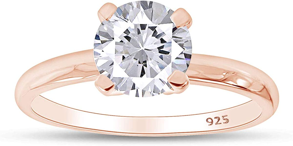 Jewel Zone US Round Cut Max 77% OFFicial mail order OFF Anniversary Solitai Zirconia Cubic White