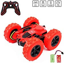 Remote Control Car Rc 4WD Off Road Double Sided Flips 360° Rotation Racing Vehicle, Rechargeable 2.4GHz High Speed 7.5Mph Toy Car for Kids, Battery Included (Red)
