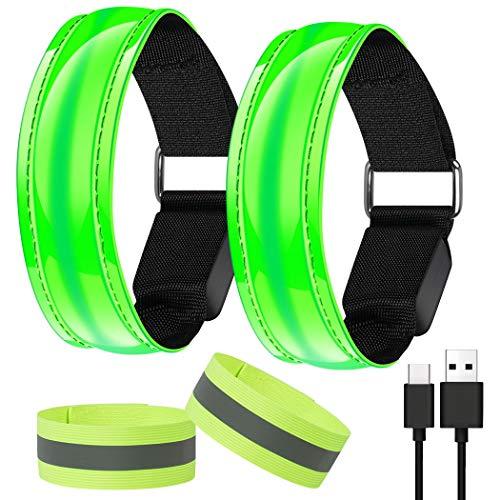 AivaToba Led Armband Aufladbar Joggen, 2 Stück Leuchtband Reflektorband, Reflective Leucht Armbänder Lichtband Lauflicht Licht Reflektoren Kinder Reflektor für Laufen Radfahren Hundewandern Running