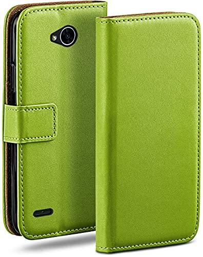moex Klapphülle für LG X Power 2 Hülle klappbar, Handyhülle mit Kartenfach, 360 Grad Schutzhülle zum klappen, Flip Hülle Book Cover, Vegan Leder Handytasche, Grün