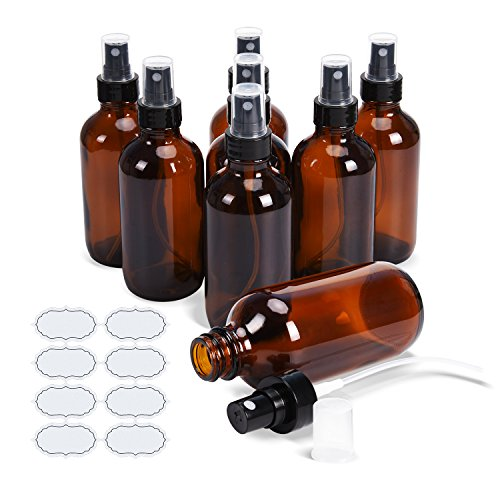 Fine Mist Sprayers 4 oz Amber Boston Bound Glass Bottles ULG 8 Pieces Empty Spray Atomizer for Essential Oils Aromatherapy Cosmetic Sprays Including Waterproof DIY Labels
