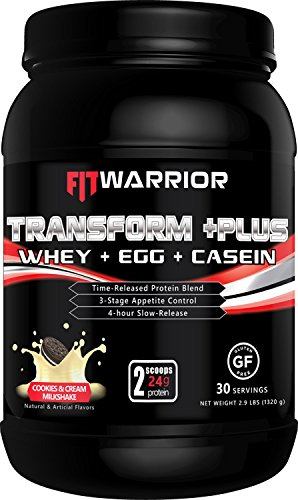 TRANSFORM +PLUS Whey, Egg White, Milk & Casein Protein Blend [Strawberry Milkshake], 24g Protein, 2.9 Pound Powder, 30 Serving - Meal Replacement, Anti-Hunger 4hr Time-Release Appetite-Control Formula