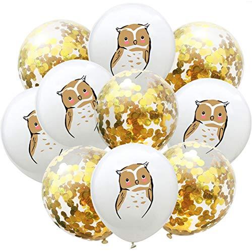 DIWULI, 10 Stück Eule und Konfetti Luftballons, süße Latex-Ballons, Ballon-Set Gold, Geburtstags-Ballons, Latex-Luftballons für Geburtstag, Kindergeburtstag, Motto-Party, Dekoration, Geschenk-Deko