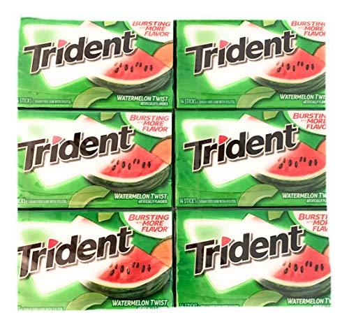 Trident Watermelon Twist Gum | Trident Sugarfree Gum | Pack of 6 | 14 Sticks Per Pack