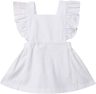 Infant Toddler Baby Girls Ruffle Sleeveless Dresses Suspender Princess Sundress Clothes 0-3T