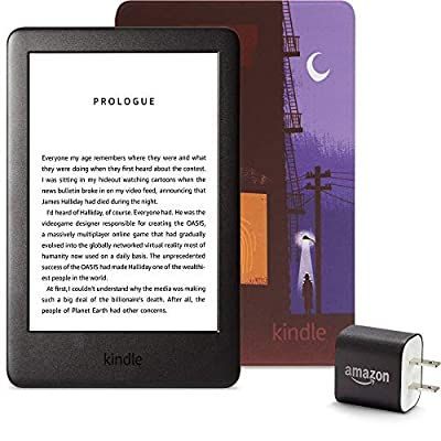 Kindle Essentials Bundle including Kindle, now with a built-in front light, Amazon Printed Cover, and Power Adapter from