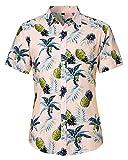 Loveternal Camisa Flores Hombre Camisa Hawaiana Piña Impresión 3D Casual Botón Abajo Manga Corta BBQ Camisa Pineapple Shirt XXL