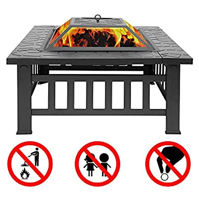 Teeker 32'' Backyard Patio Garden Stove,Outdoor Fire Pit Table,Fire Pit Set,Wood Burning Pit,Multifunctional Patio Backyard Garden Fireplace Heater/BBQ/Ice Pit with Spark Screen,Log Poker