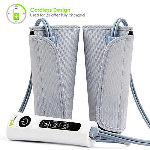 Amzdeal Leg Massager Air Compression Leg Wraps for Calf Arms Foot Built-in Rechargeable Battery Cordless Design 【Update】