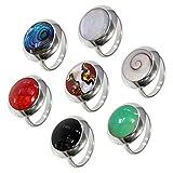 Fly Style offener Fingerring für Damen aus 925 Silber mit Muschel- oder Schmuckstein-Inlays, Farbwahl:Shivaauge