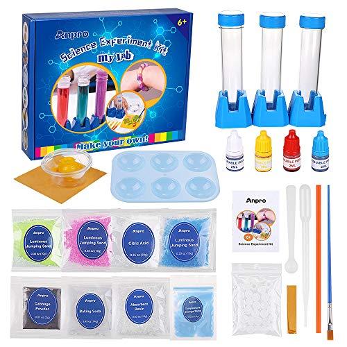 Anpro Scientific Experiment Set, 15 wissenschaftliche Experimente, wissenschaftliches Experimentierkit für Kinder,mit experimentellen Instrumenten und experimentellen Materialien