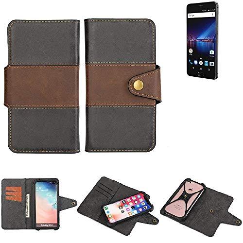K-S-Trade® Handy-Hülle Schutz-Hülle Bookstyle Wallet-Case Für Phicomm Passion 4 Bumper R&umschutz Schwarz-braun 1x