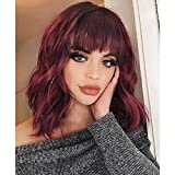 FAVE Curly Bob Wig with Bangs Short Bob Wavy Hair Wigs Wine Red Color Shoulder Length Wigs for Women Bob Style Brazilian Virgin Human Hair Wigs 99J Color (14 inch, 99J)