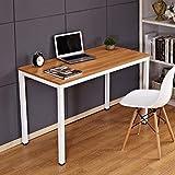 Need Escritorios 120x60cm Mesa de Ordenador Escritorio de Oficina Mesa de Estudio Puesto de Trabajo Mesa de Despacho, Teca Roble & Blanco