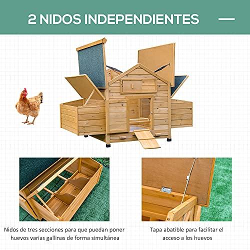 PawHut Gallinero Grande de Madera de Abeto con Bandeja Extraíble Resistente a la Intemperie con 2 Nidos con Techo Abatible 150x100x96.5cm