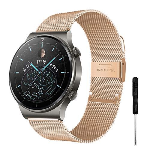 YHC Correa para Huawei Watch GT2/GT2 Pro, compatible con Huawei Watch GT/GT Active 46 mm (dorado)