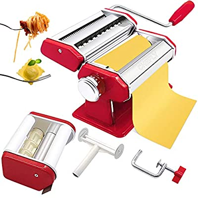 CHEFLY Pasta & Ravioli Maker Set Christmas Red All in one 9 Thickness Settings for Fresh Homemade Lasagne Fettuccine Spaghetti Dough Roller Press Cutter Noodle Making Machine P1802-R