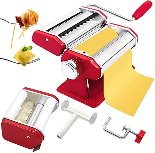 CHEFLY Pasta Ravioli Maker Set All in one 9 Thickness Settings for Fresh Homemade Lasagne Fettuccine product image
