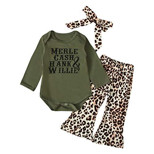 0-2Y Newborn Infant Baby Girl Letter Tops Romper Bodysuit + Leopard Flared Pants + Headband Clothes Set (Green, 12-18 Months)