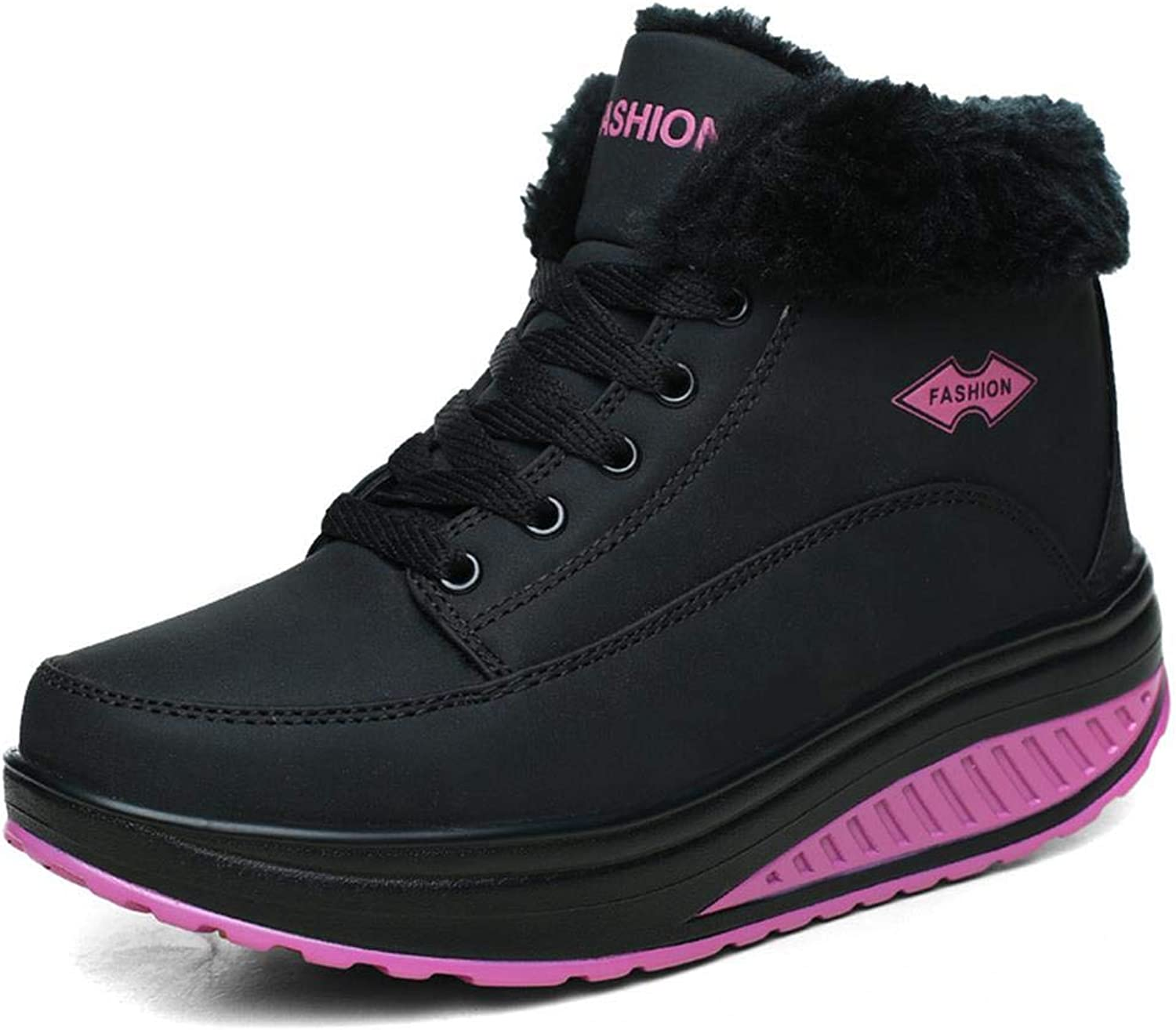 HangeZ Women Female Boots Winter Women Warm Snow Cotton-padde Velvet shoes Black Black 5.5