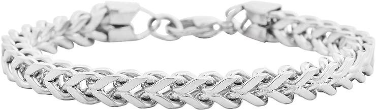 Edforce Stainless Steel Men's 6mm Franco Chain Bracelet 8