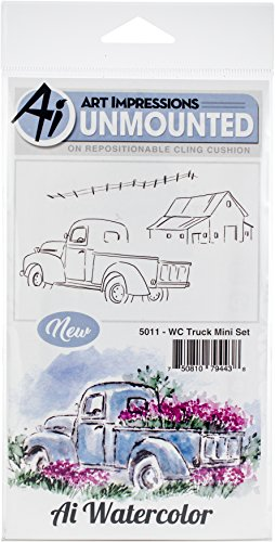 Art Impressions Truck Mini Watercolor Cling Rubber Stamps, Multicolor