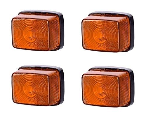 4 X Orange côté marqueur lumières 12 V 24 V Marquage E de voiture camion remorque position Ensemble lampe Quadrat carré Ambre ampoules universel