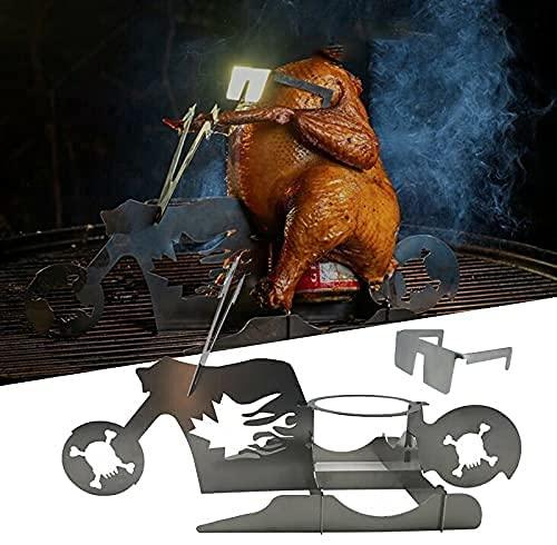 Bomoya Tragbarer Hühnerständer für amerikanisches Motorrad, Grillrost aus Edelstahl mit Gläsern, Bierdosenhalter, Hähnchenhalter, Grillrost für den Innen- und Außenbereich (1pc)