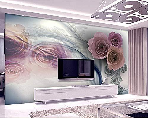 XHXI Papel pintado de decoración de habitación personalizado Retro flor de rosa europea moderna moda TV telón Pared Pintado Papel tapiz Decoración dormitorio Fotomural sala sofá mural-300cm×210cm