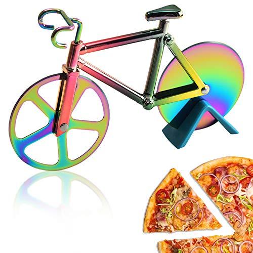Toskope Tagliapizza Bicicletta, Tagliapizza per Bicicletta in Acciaio Inossidabile Rivestito Antiaderente con Supporto, Tagliapizza Divertente Bicicletta ,Doppio Ruota Tagliapizza (Multicolore)