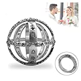 Astronomical Sphere Ball Ring,Cosmic Finger Ring Couple Lover Foldable Ring That Folds Out to an Astronomical Sphere Ring Lover Jewelry Gifts (Silver 2 Pack, 7)