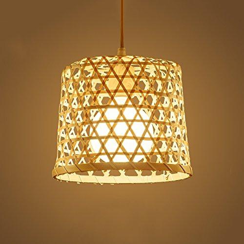 WANGLucky Lámpara de Techo de bambú Natural Que Teje Alta